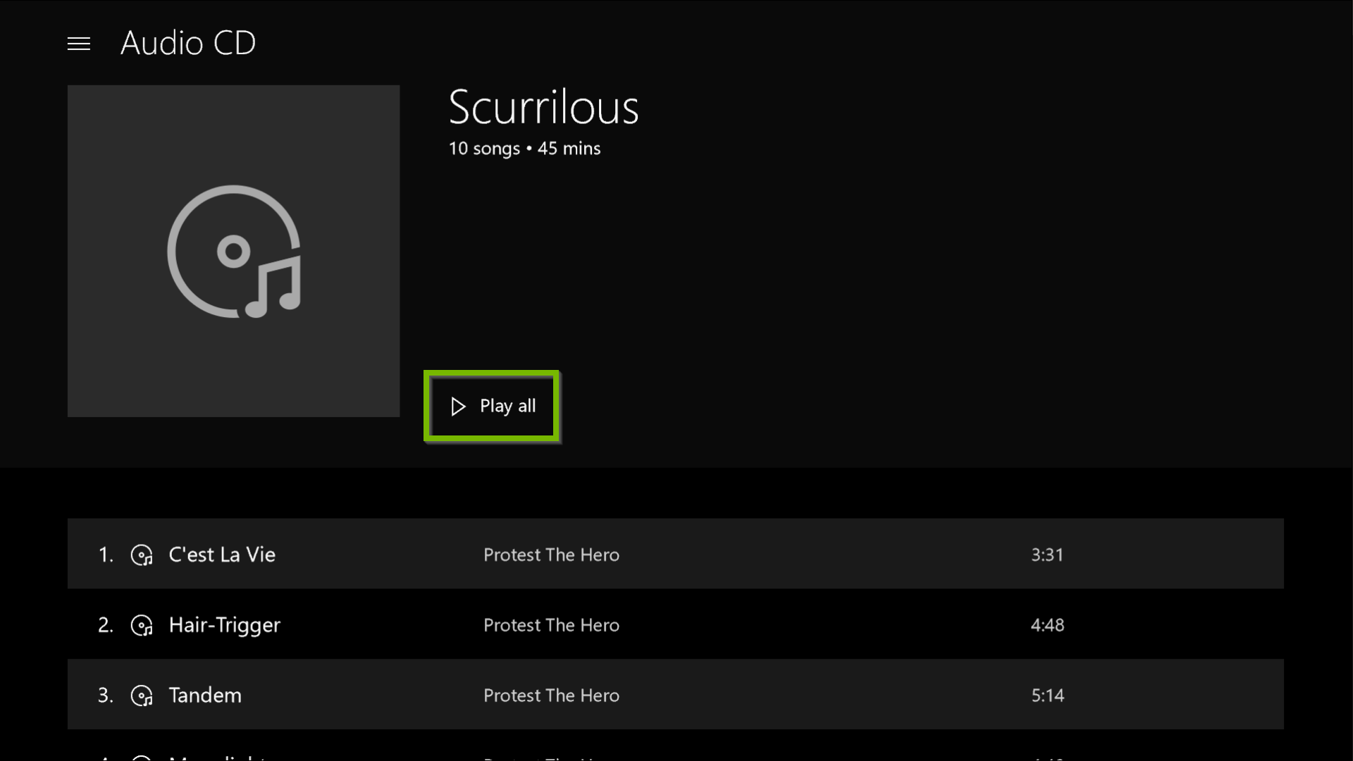 Groove Music app displaying an audio CD to be played.