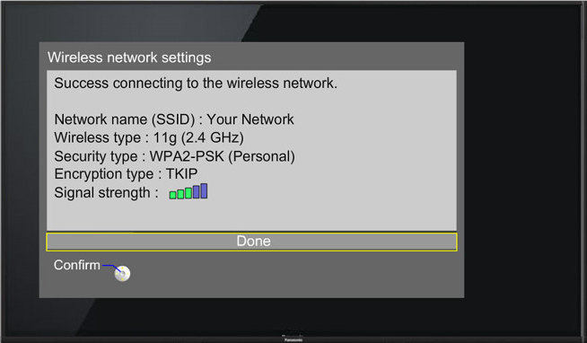 Wi-Fi connection summary screen