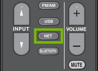 Net button highlighted on partial remote.