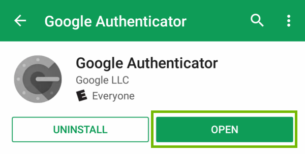 Google Authenticator app page with Open highlighted.