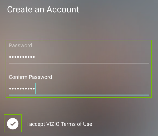 Create password fields.