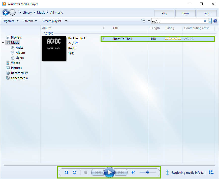 Windows media player common media listening controls.