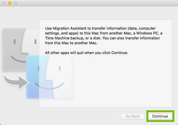 Migration Assistant welcome screen with Continue highlighted.