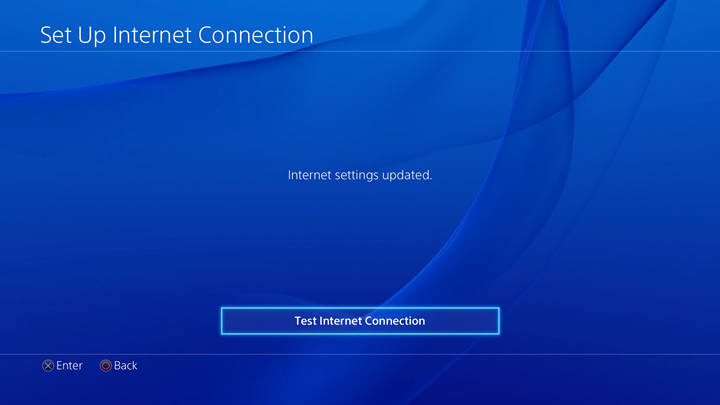Internet settings updated with test internet connection highlighted