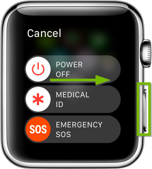 Side button highlighted on Apple Watch and Power Off sliding direction pointed out.