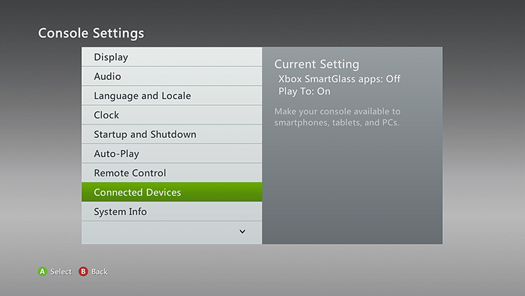Console Settings screen with Connected Devices selected. Screenshot.