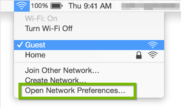 Wi-Fi menu with Open Network Preferences highlighted.