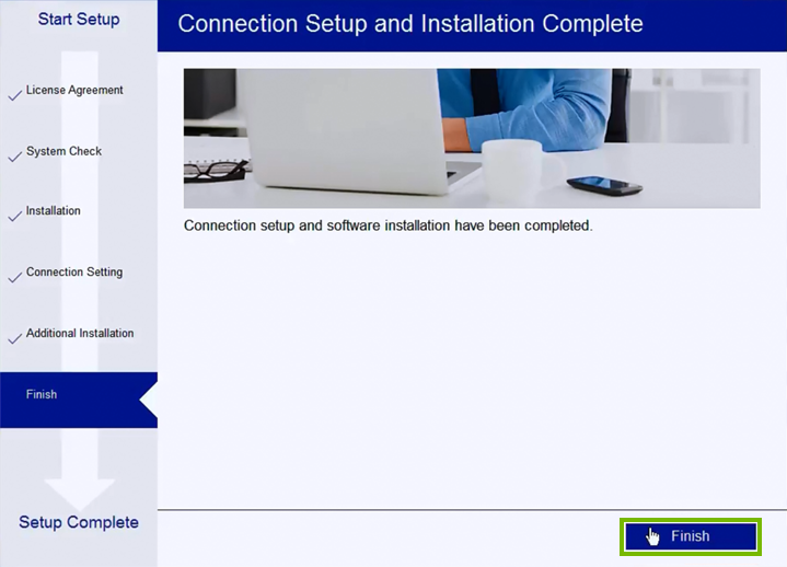 Printer connection setup and software install completion screen.