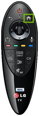 Newer LG Remote with Home button highlighted.