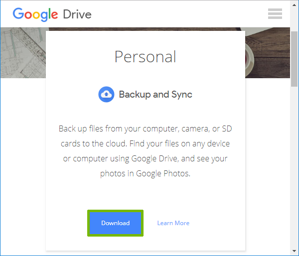 Google Drive download page with Download under Personal highlighted.