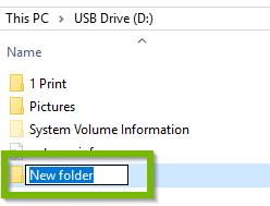 New Folder. Screenshot.