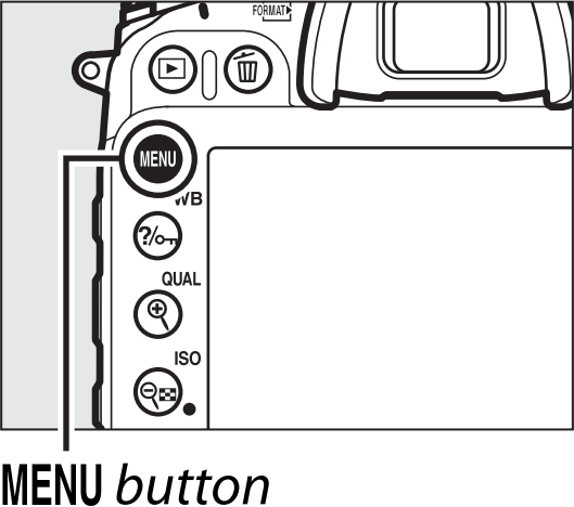 Camera with menu button highlighted.