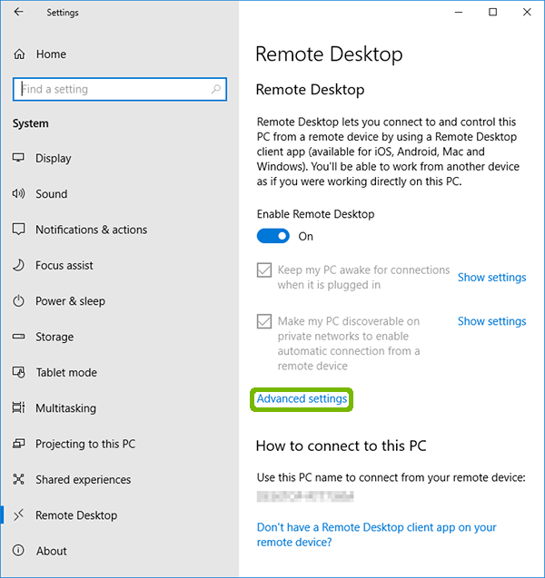 Remote Desktop with Advanced settings highlighted.