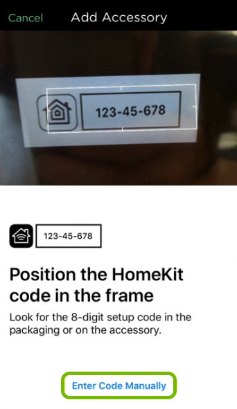 Enter Code Manually option highlighted in HomeKit setup of ecobee app.