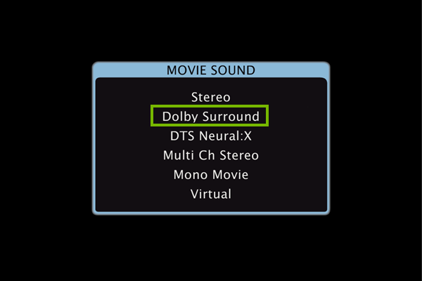 Surround sound select in settings