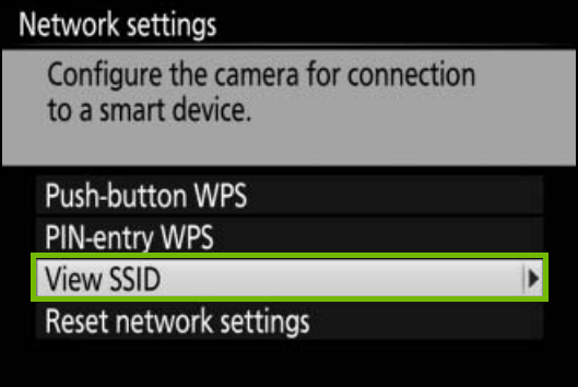 Network settings with view SSID highlighted.