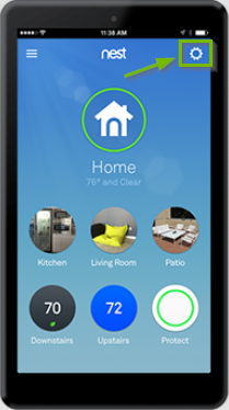 Nest menu, settings icon highlighted