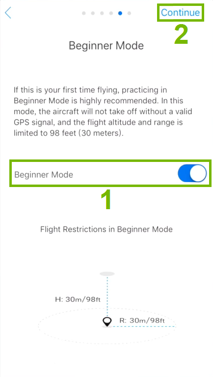 Beginner Mode toggle switch and Continue option highlighted in activation step.