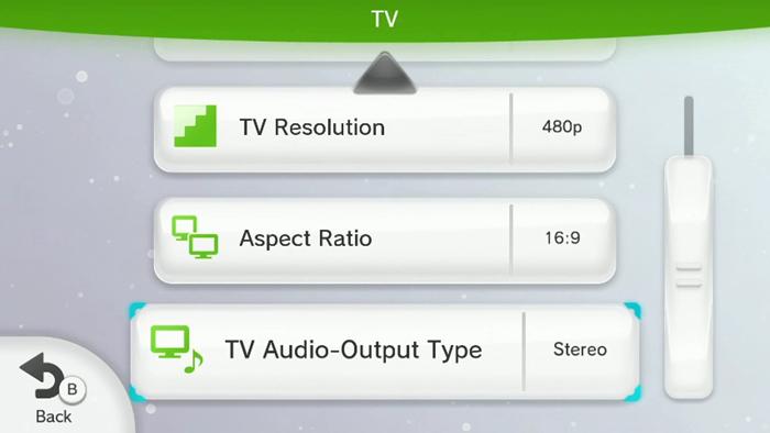 Nintendo Wii U TV settings menu highlighting the TV audio output type button.