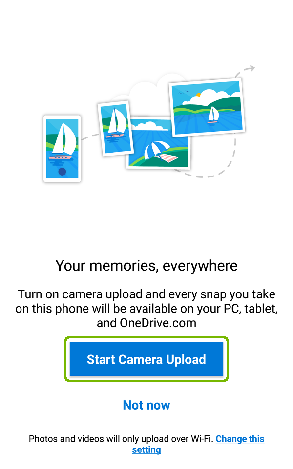 Camera backup prompt with Start Camera Upload highlighted.