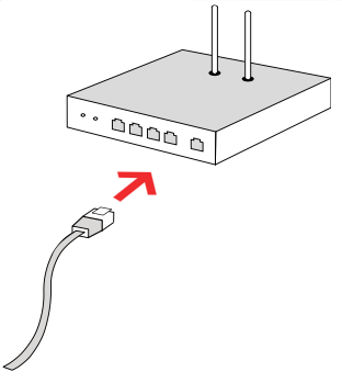 diagram of an ethernet cable being plugged into a router