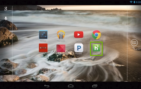 Android home screen highlighting the Hulu app.