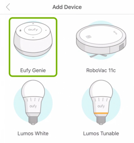 Eufy Genie highlighted in device selection list of EufyHome app.