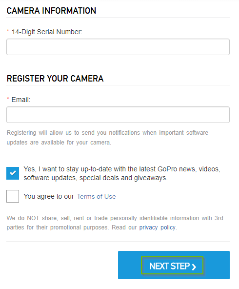 GoPro website prompting the user for registration information. Next step button highlighted.