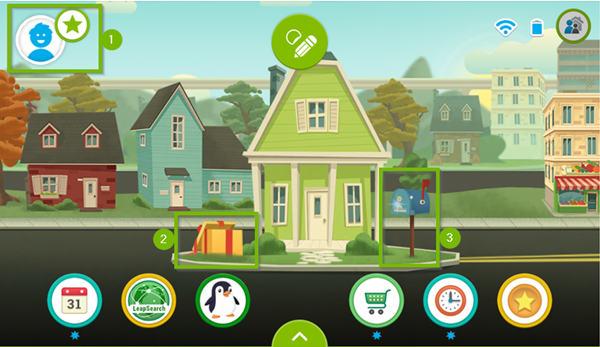 LeapFrog Epic's home screen highlighting the rewards store icon, the gift box icon, and the mailbox icon.