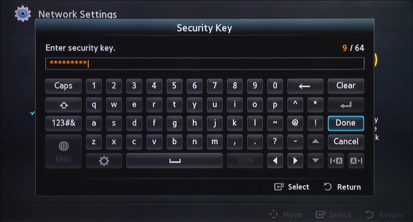 Wireless key entry screen