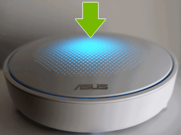 Blue light pointed out on top of ASUS Lyra hub.