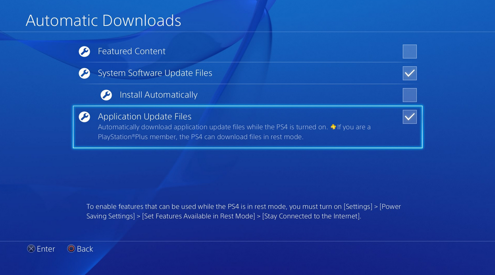 Automatic downloads settings screen.