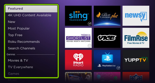 Categories highlighted in Streaming Channels store on Roku.