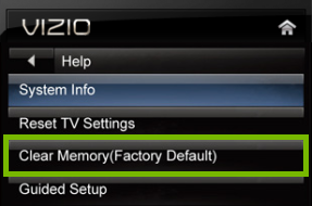 Clear Memory option highlighted in VIZIO TV help menu on VIA platform.