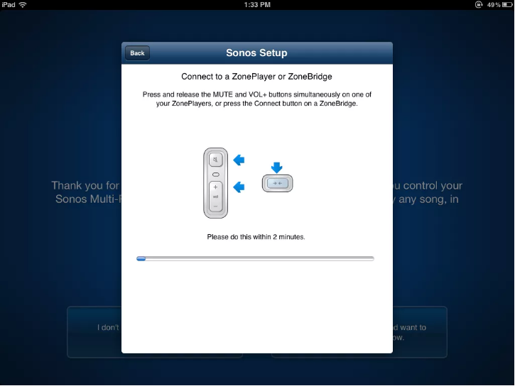 Sonos app setup screen displaying connection instructions.