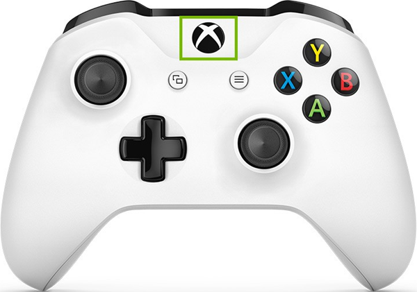 Xbox controller with guide button highlighted.