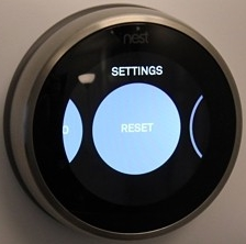 Nest thermostat settings menu highlighting the reset icon.