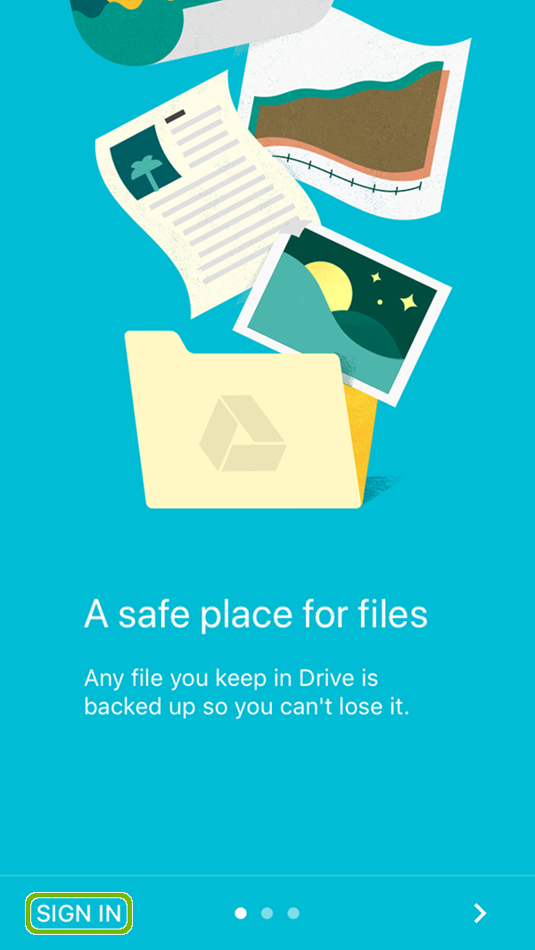Google Drive welcome with Sign In highlighted.