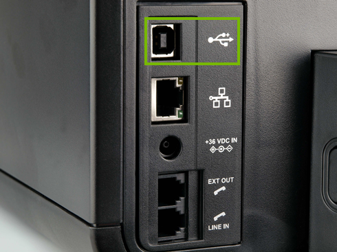 Stock photo of the backside of a common USB printer highlighting the USB port it would use to be connected to a computer.
