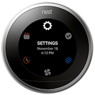 Nest thermostat highlighting the settings icon.