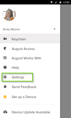 August Home app page with Settings highlighted