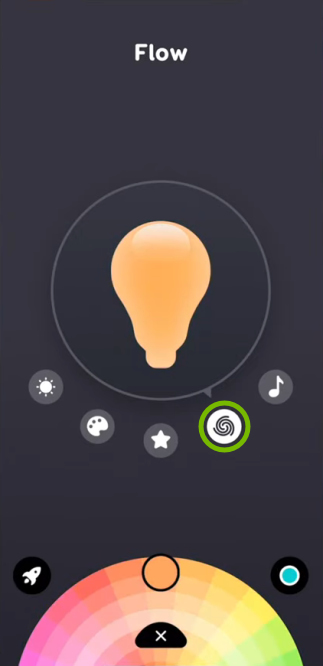 Swirl icon highlighted for selected bulb in EufyHome app.