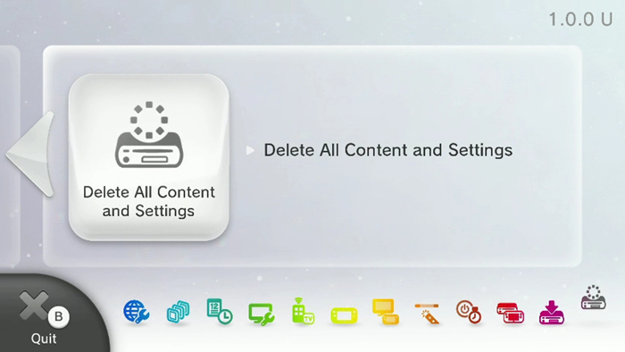 Delete all content and settings page