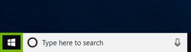 Windows 10 desktop inset with Start menu highlighted.