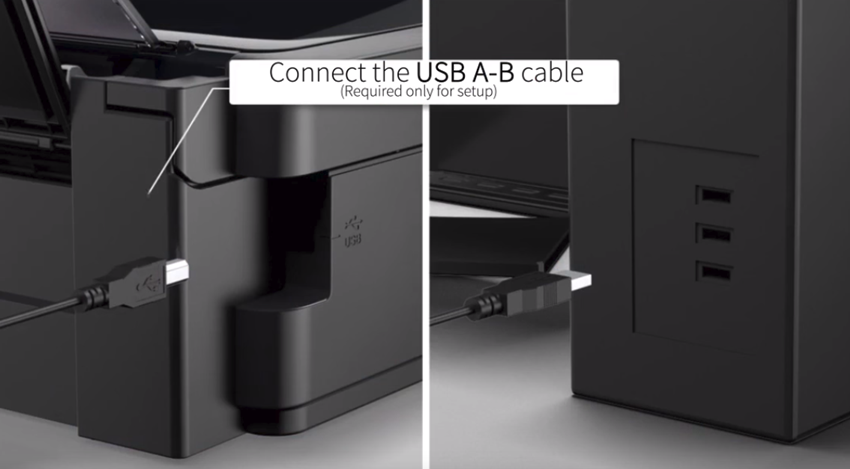 Connecting your printer to your computer via USB cable. Illustration.