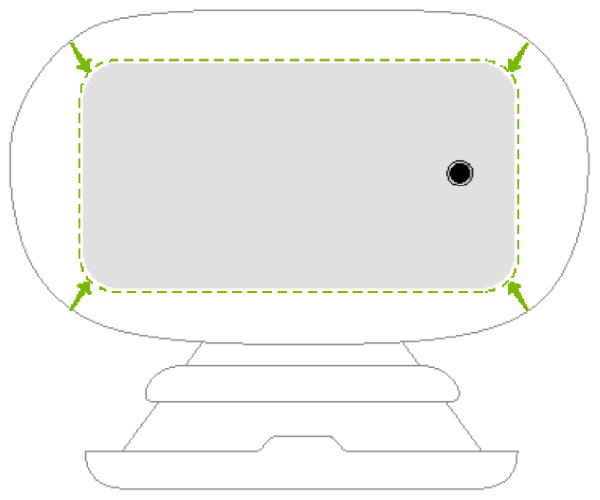 Arrows and outline showing how to place the smartphone into the goggles.