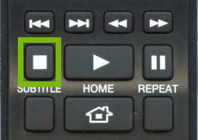 Stop button highlighted on remote.