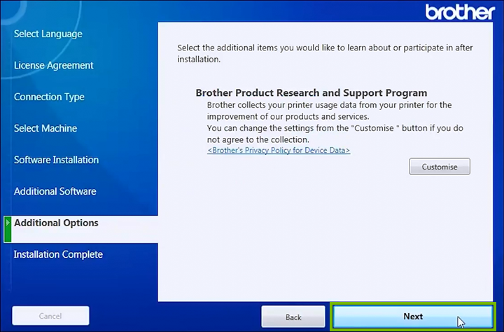 Product research and support program customization screen.