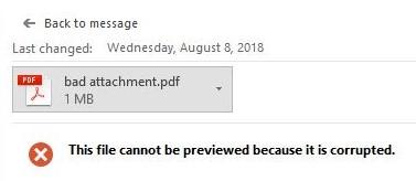 Corrupt email attachment