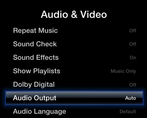 Apple TV Audio and Video menu, highlighting the Audio Output option.